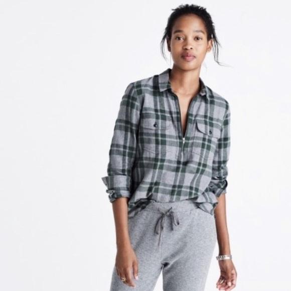 Madewell Tops - madewell washburn plaid quarter zip flannel shirt
